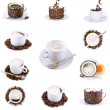 Collage (collection) of various coffee cups with coffee. — Stock Photo #1896917