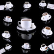 Collage (collection) of various coffee cups with coffee on black background — Stock Photo #1896935