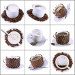 Collage (collection) of various coffee cups with coffee. — Stock Photo #1896954