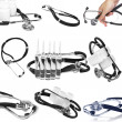 Collage (collection) of medicine tools- phonendoscope,ampule on white backg - Stock Photo