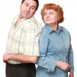 Royalty-Free Stock Photo: Old couple. Look of each other with love. Isolated.
