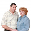 Old couple. Look of each other with love. Isolated. — Stock Photo