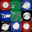 Royalty-Free Stock Photo: Collage of  forks, knifes, spoons  on colour   background.Spotlight sourc