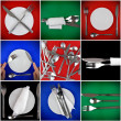 Stock Photo: Collage of forks, knifes, spoons on colour background.Spotlight sourc