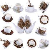 Collage (collection) of various coffee cups with coffee. — Stock Photo