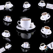 Collage (collection) of various coffee cups with coffee on black background — Stock Photo