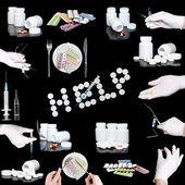 Collage od medicine- pills bottle,infusion set — Stock Photo