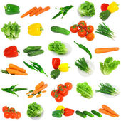 Collage of vegetables - tomato,carrots, sweet pepper, lettuce, young onion — Stock Photo
