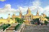 Placa De Espanya, the National Museum in Barcelona. Spain — Stock Photo