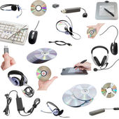 Collage of computers devices. Isolated — Stock Photo