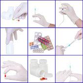 Collage oа medicine- pills bottle,infusion set,syringe — Stock Photo