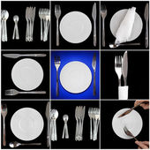 Collage of forks, knifes, spoons on black background.Spotlight sourc — Stock Photo