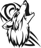 Huilende wolf. — Stockvector