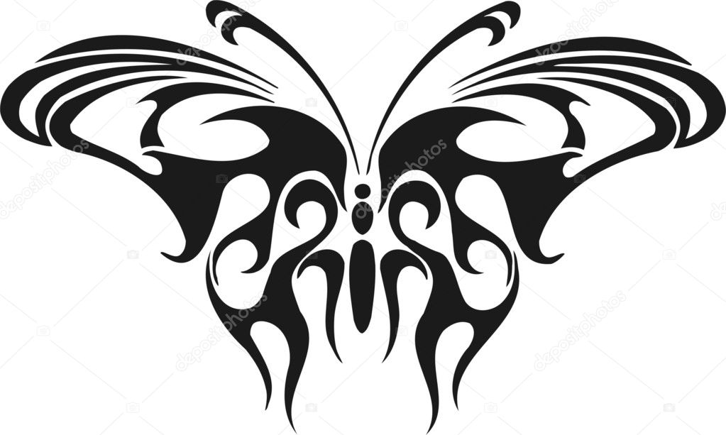 Graceful butterfly in the form of a flame. Vinyl-Ready vector image. — Imagens vectoriais em stock #1870449