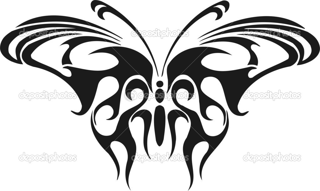 Graceful butterfly in the form of a flame. Vinyl-Ready vector image. — ベクター素材ストック #1870449