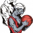 Vettoriale Stock : Grinning grey wolf with basketball.