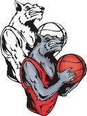 Lobo gris sonriente con una pelota de baloncesto. — Vector de stock