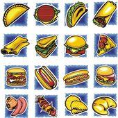 Set de comida rápida - ilustración vectorial. — Vector de stock