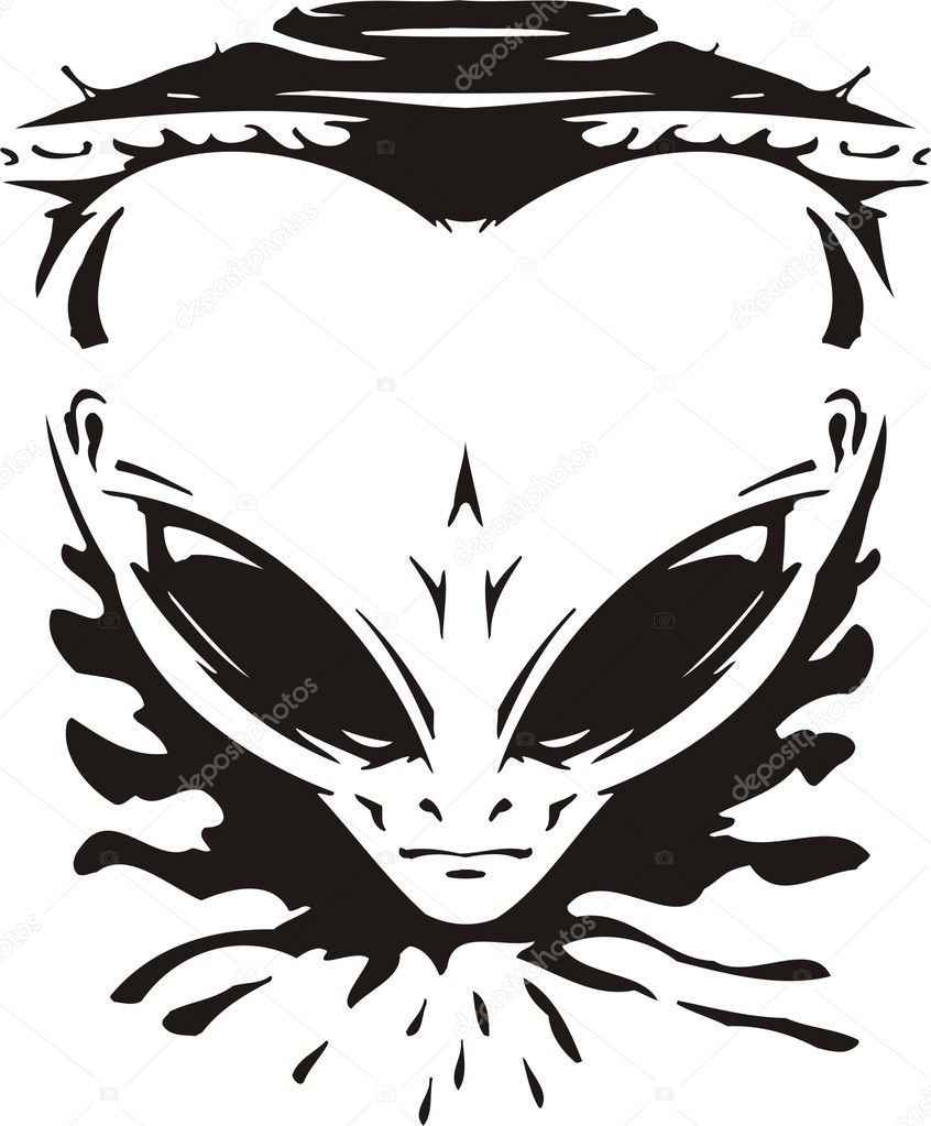 Face of the alien against a spaceship. Vector illustration. Ready for vinyl cutting. — Stock Vector #1916805