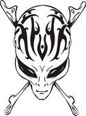 头骨和骨头的外星人 — 图库矢量图片