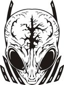Skull of the alien with a brain. — Stockvektor