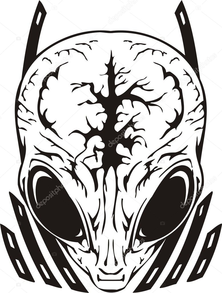 Skull of the alien with a brain. Vinyl Ready. Vector Illustration. — Stock Vector #2071692