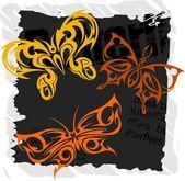 Tribal Butterflies - Set 5. — Stock Vector
