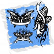 Butterflies with Tapes - Set 6. — Stock Vector