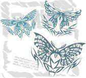 Butterflies in Modern Style - Set 16. — Stock Vector