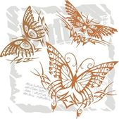 Butterflies in Modern Style - Set 17. — Stock Vector