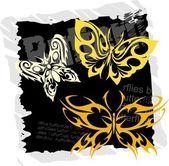 Tribal Butterflies - Set 21. — Stock Vector