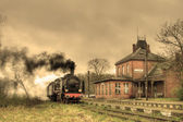 Old retro steam train — Stockfoto