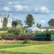 Freight train passing the village — Stock Photo #1888300