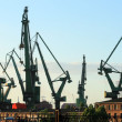 Cranes at historical shipyard in Gdansk, - Stock Photo