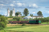Freight train passing the village — Foto Stock