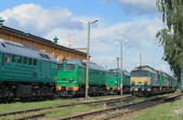 Trains in a depot — Stock Photo