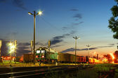 Freight train at the station — Stock Photo