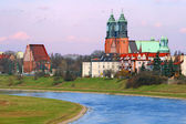 River and a cathedral church — Stock Photo