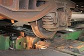 Railway wheel turning — Stock Photo