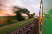 View from the window of speeding train — Stock Photo