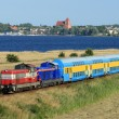 Landscape with the passenger train — Stock Photo