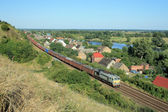 Landscape with the train, village and ri — Foto Stock
