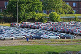 Parking with lot of cars — Foto de Stock
