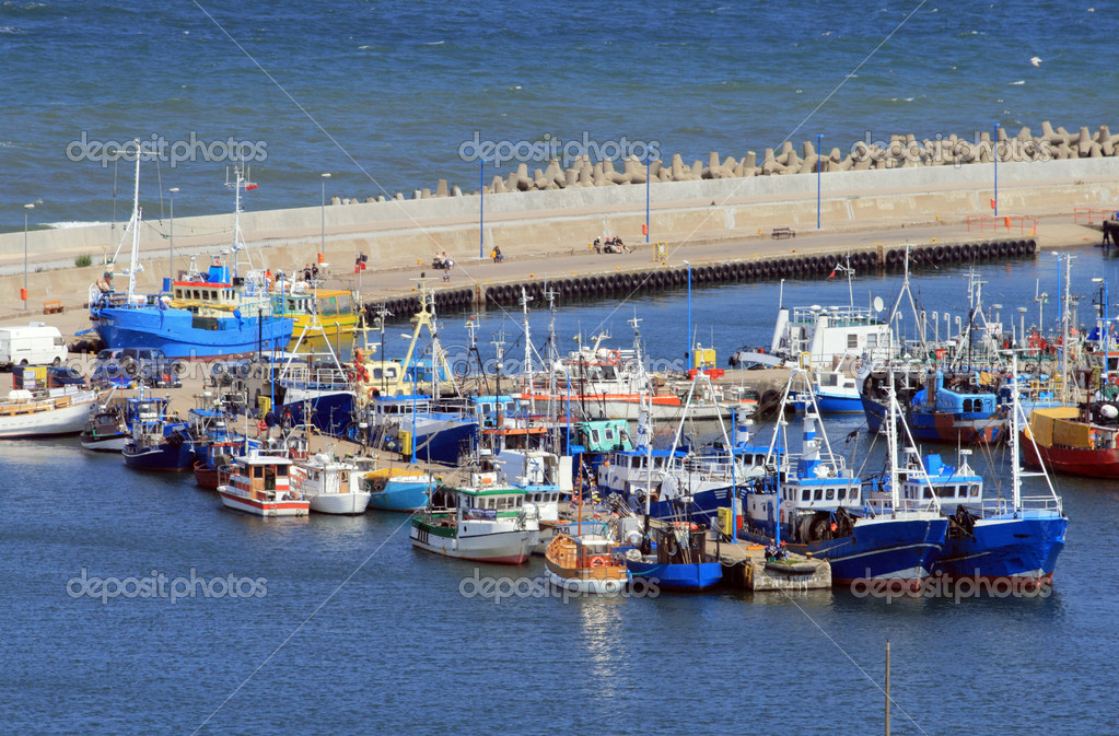 Aerial view of the marina, pier and yachts  Stock Photo #1934423