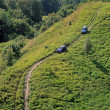 Photo: Two cars climbing up slope