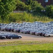 Parking with lot of cars — Foto Stock