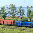 Стоковое фото: Landscape with train and lake