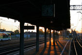 Morning scene at the railway station — Stock Photo