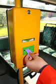 Validating a bus ticket — Stock Photo