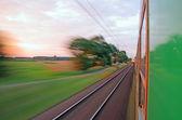 Vista desde la ventana del tren a alta velocidad — Foto de Stock